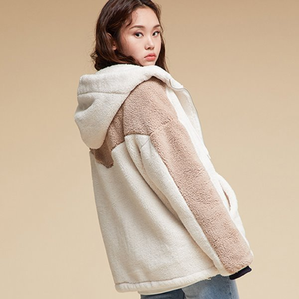 SIDE LINE FLEECE HOOD ZIPUP IVORY