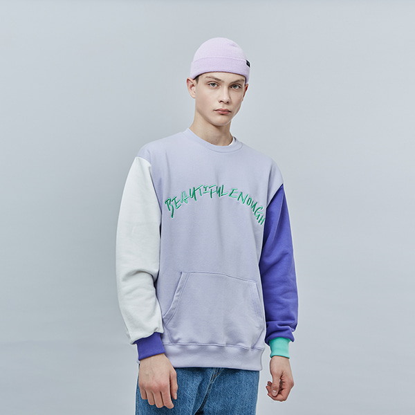 COLOR EMBO POINT SWEAT SHIRT LAVENDER