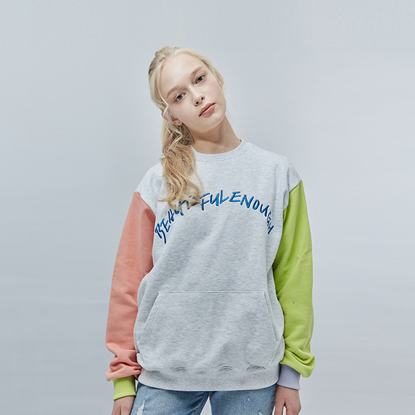 COLOR EMBO POINT SWEAT SHIRT ASH