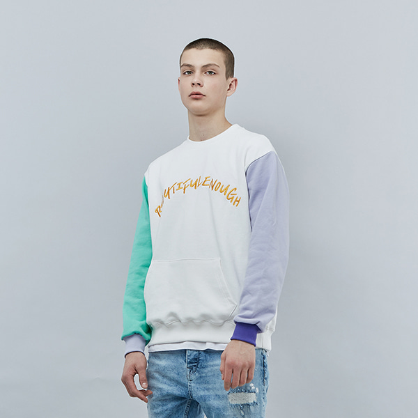 COLOR EMBO POINT SWEAT SHIRT IVORY