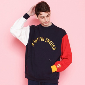 COLOR BLOCK SWEAT SHIRT NAVY