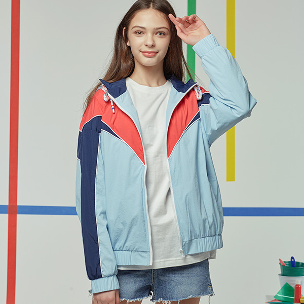 NEWTRO COLOR LINE TRACK JACKET SKYBLUE